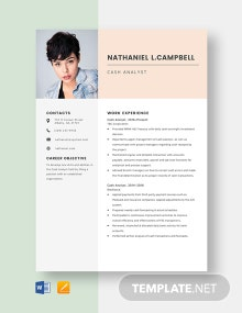 Cash Analyst Resume Template