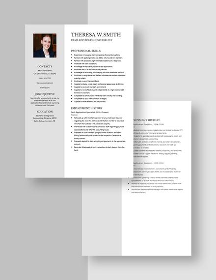 CashApplication Specialist Resume Download