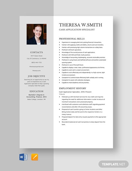 Cash Application Specialist Resume Template