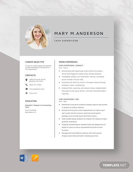 Cash Supervisor Resume Template