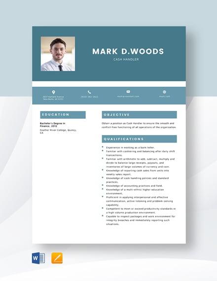 Cash Handler Resume Template