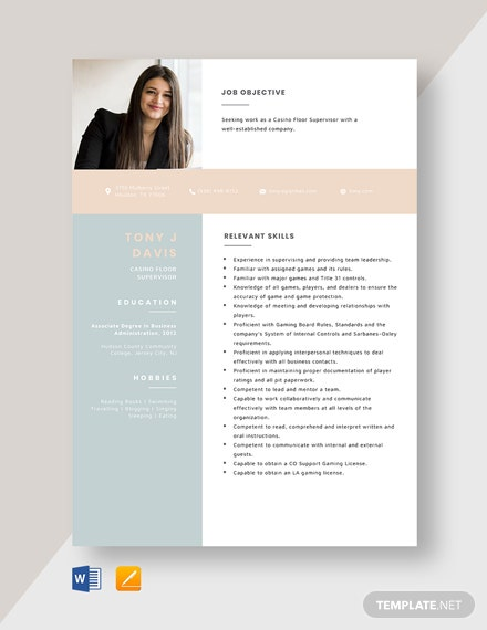Casino Floor Supervisor Resume Template