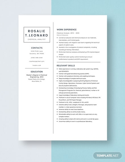 Chemical Analyst Resume Template