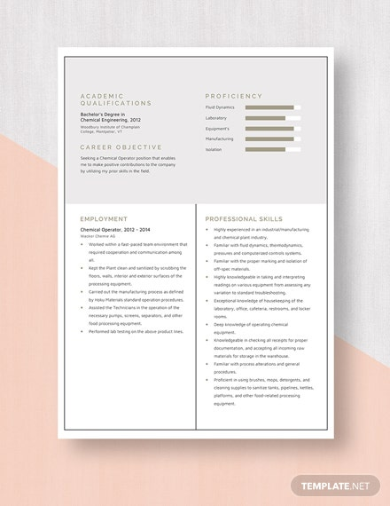 Chemical Operator Resume Template