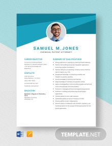 Chemical Patent Attorney Resume Template