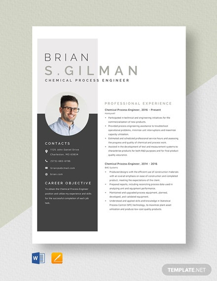 Chemical Process Engineer Resume Template