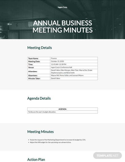 Editable Annual Business Meeting Minutes Template
