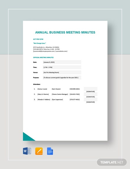 Annual Business Meeting Minutes Template