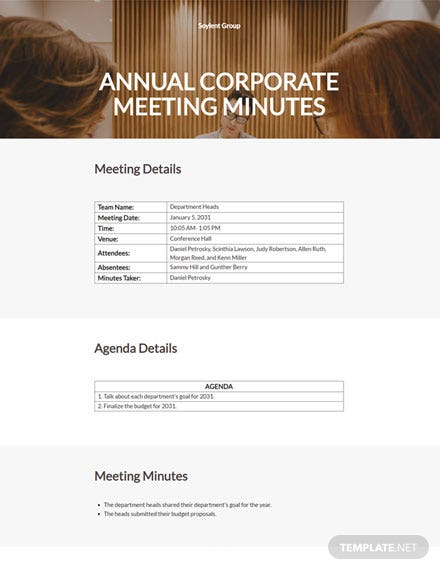 Editable Annual Corporate Meeting Minutes Template