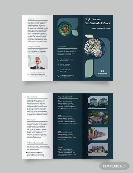 Island Vacation Tri-fold Brochure Template