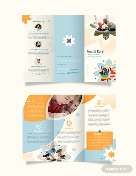 Babysitting Tri-Fold Brochure Template