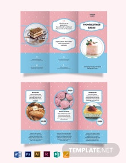 Cake Bakery Tri-Fold Brochure Template