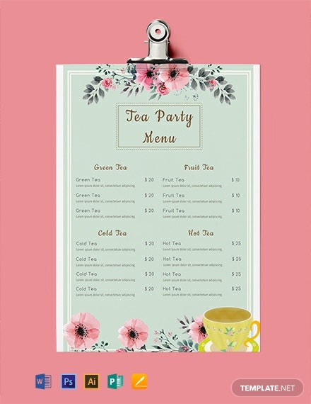 free tea party menu template  download 297  menus in psd