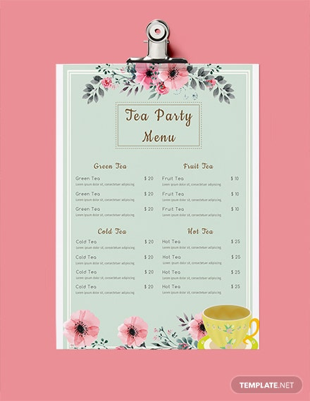 free tea party menu template download 36 menus in psd word