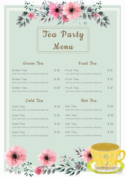Free Tea Party Menu Template