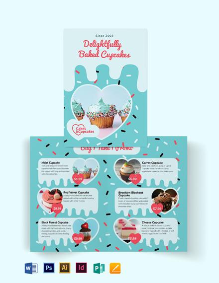 Cupcake Bakery Bi-Fold Brochure Template