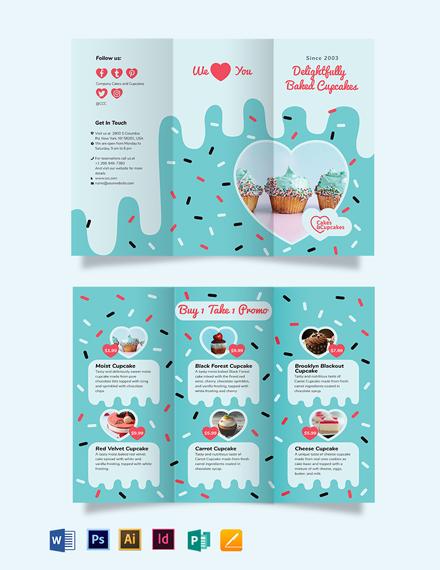 Cupcake Bakery Tri-Fold Brochure Template