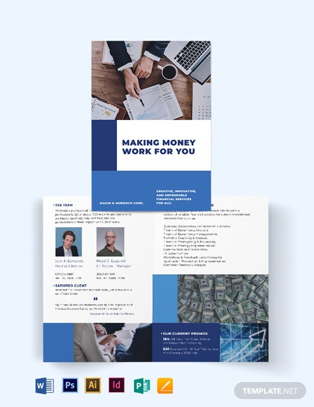 Financial Services Bi-Fold Brochure Template