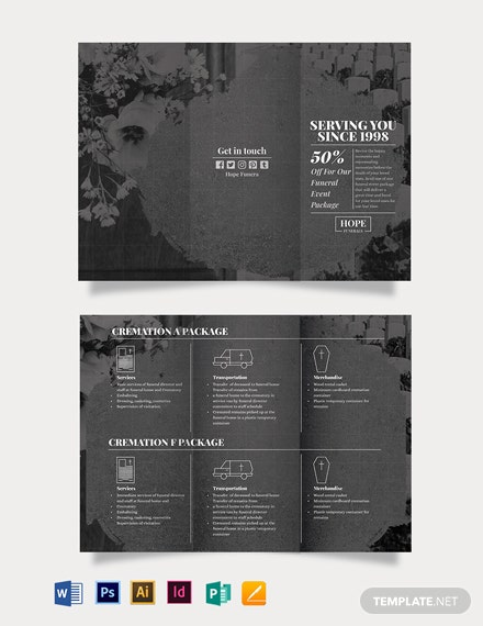 funeral event tri fold brochure