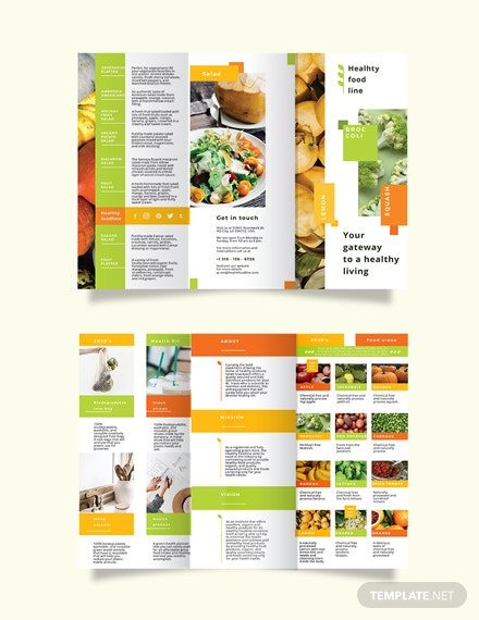 Health Nutrition Tri-Fold Brochure Template