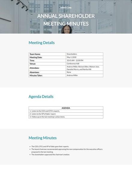Editable Annual Shareholder Meeting Minutes Template