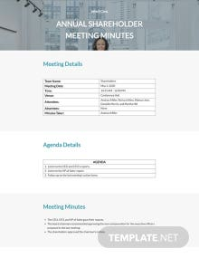 Annual Shareholder Meeting Minutes Template
