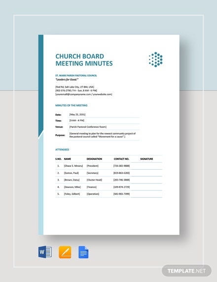 Church Board Meeting Minutes Template