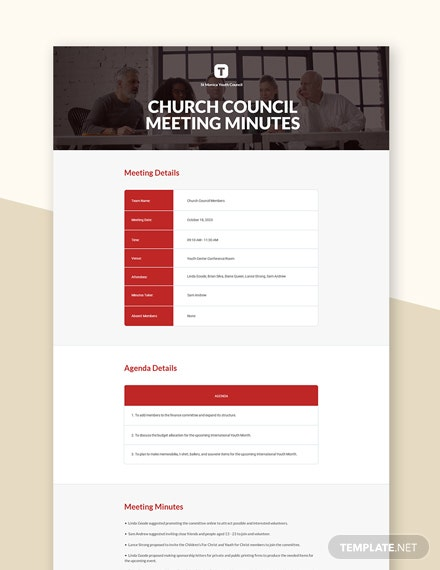 Church Council Meeting Minutes Template