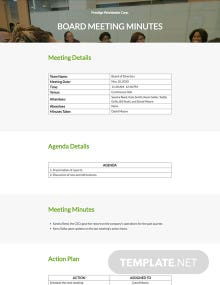Company Board Meeting Minutes Template