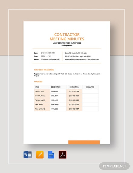 Contractor Meeting Minutes Template