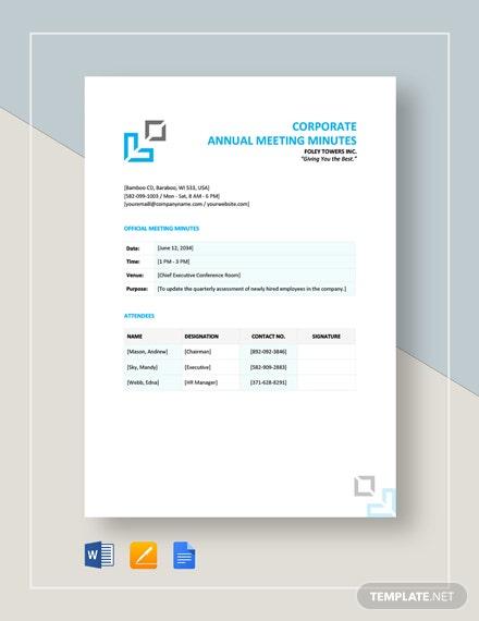 Corporate Annual Meeting Minutes Template