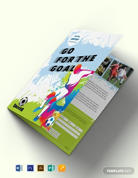 Free Soccer Bi-Fold Brochure Template
