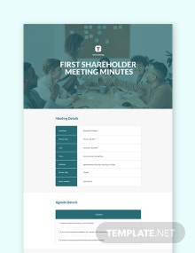 First Shareholder Meeting Minutes Template
