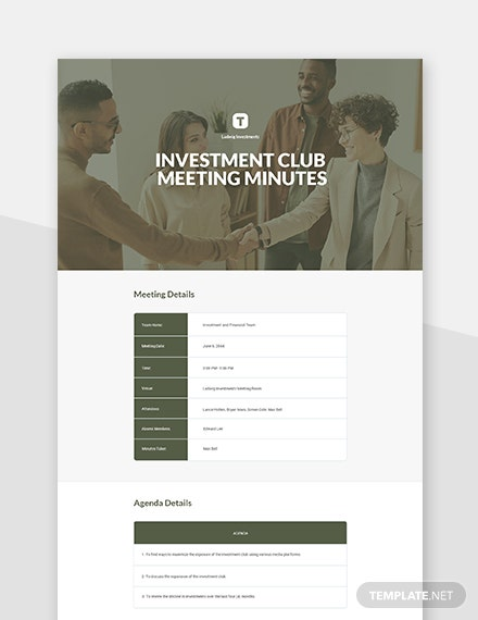 Investment Club Meeting Minutes Template
