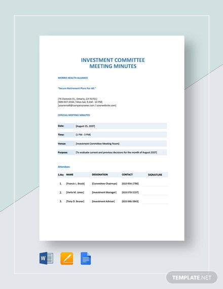 Investment Committee Meeting Minutes Template
