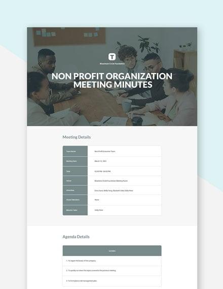 Non Profit Organization Meeting Minutes Template