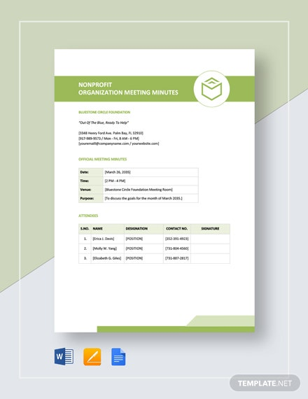 Non Profit Organization Meeting Minutes Template