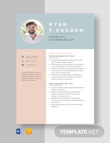 Chemical Technologist Resume Template