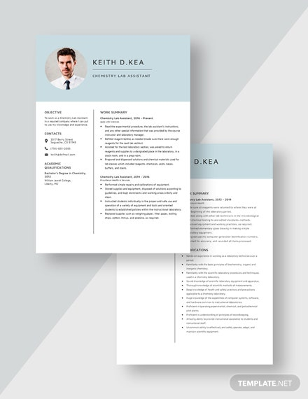 Chemistry Lab Assistant Resume Download