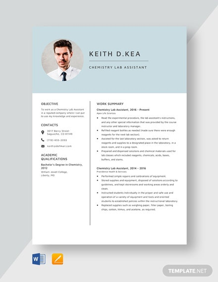 Chemistry Lab Assistant Resume Template