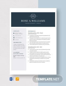 Chemotherapy Nurse Resume Template