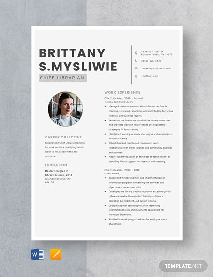 Chief Librarian Resume Template