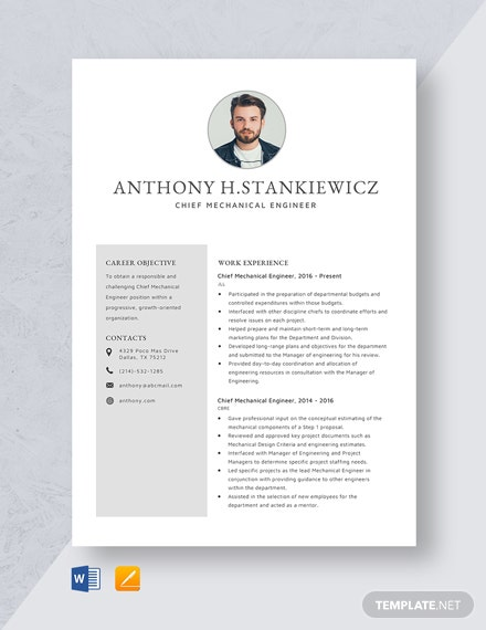 Chief Mechanical Engineer Resume Template