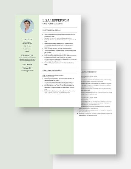 Chief Nurse Executive Resume Download