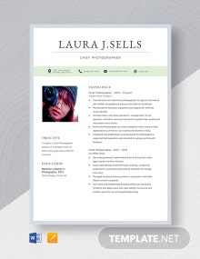 Chief Photographer Resume Template