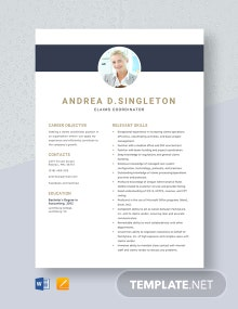 Claims Coordinator Resume Template