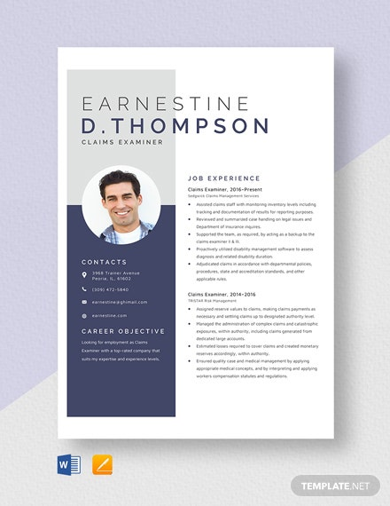 Claims Examiner Resume Template