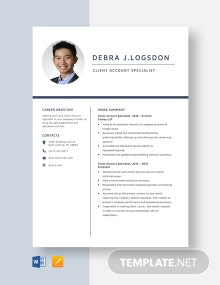 Client Account Specialist Resume Template