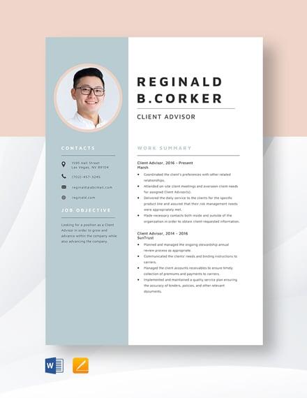 Client Advisor Resume Template