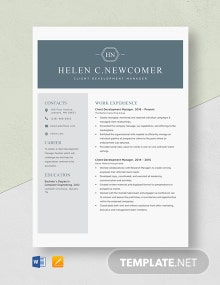 Client Development Manager Resume Template
